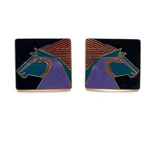 Vintage Stallion Earrings Laurel Burch
